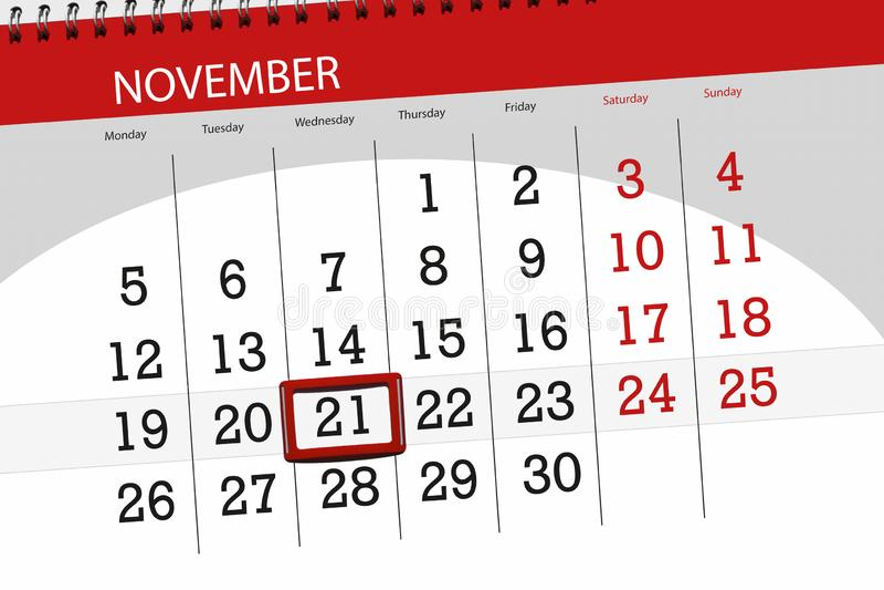 Calendar planner for the month, deadline day of the week 2018 november, 21, Wednesday stock image
