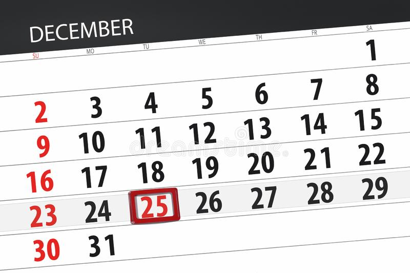 Calendar planner for the month december 2018, deadline day, tuesday, 25, Christmas royalty free stock images