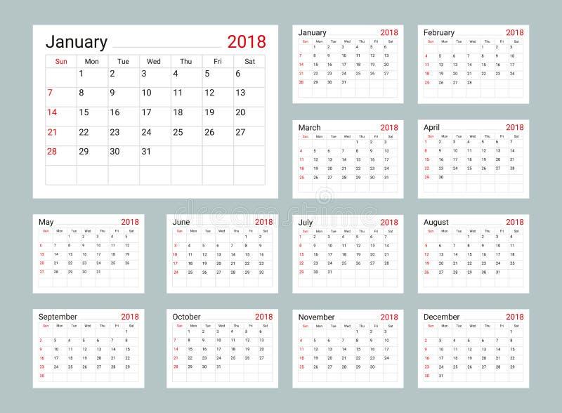 Calendar 2018 Daily Planner Template Stock Vector Illustration Of