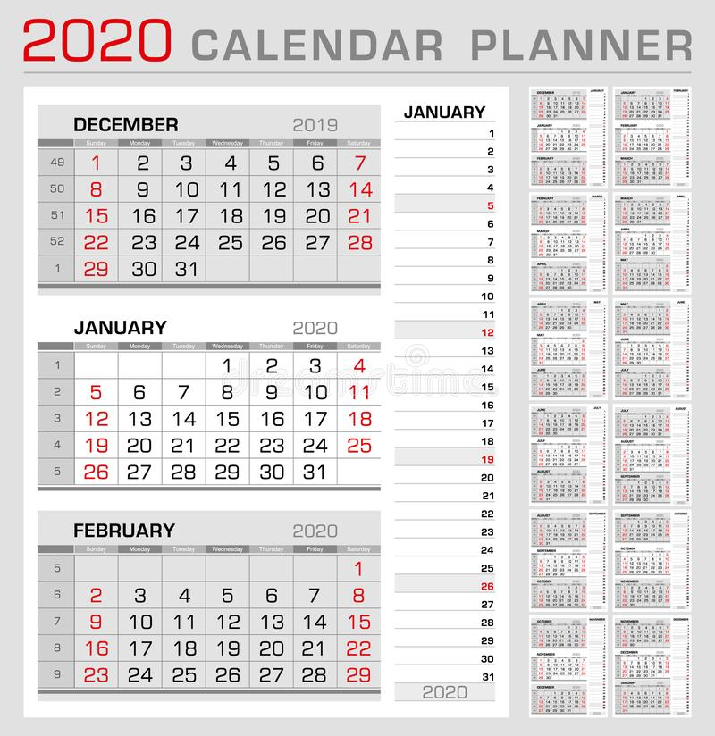 Calendar planner template 2020. Week start from Sunday. 3 month calendar on page, with flush right stripe calendar of the topical vector illustration