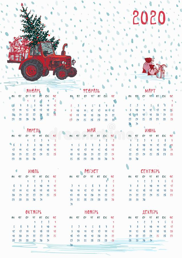2020 Calendar planner whith red christmas tractor, new year tree and celebrateted gifts Week starts on Monday. Scale A4 dimension. 2020 Calendar planner whith vector illustration