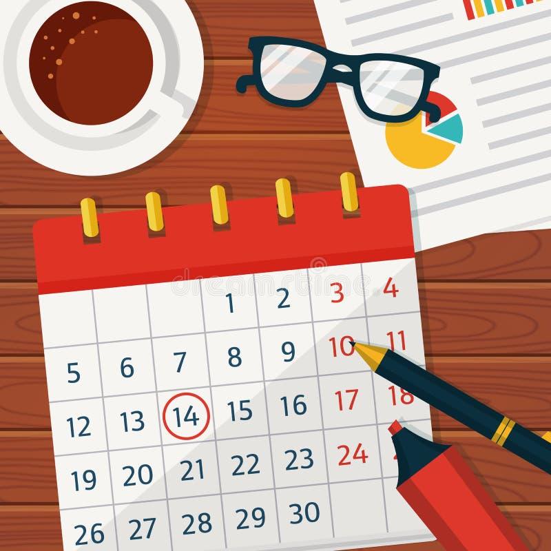 Calendar Time Clip Art : Calendar planning vector concept background stock