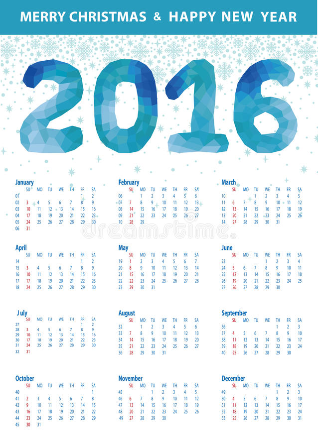 Calendar 2016.Polygon blue numbers,snowflakes royalty free illustration