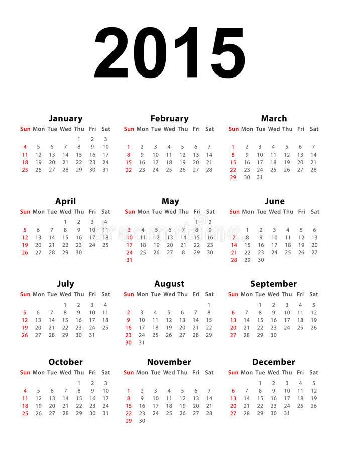 Calendar 2015 Portrait. Calendar of 2015 isolated on white background royalty free illustration