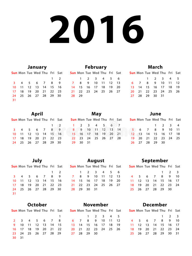 Calendar 2016 Portrait. Calendar of 2016 isolated on white background royalty free illustration