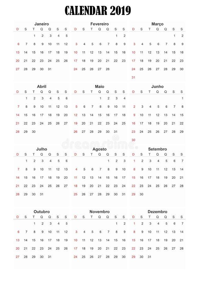 2019 calendar Portuguese language stock photography