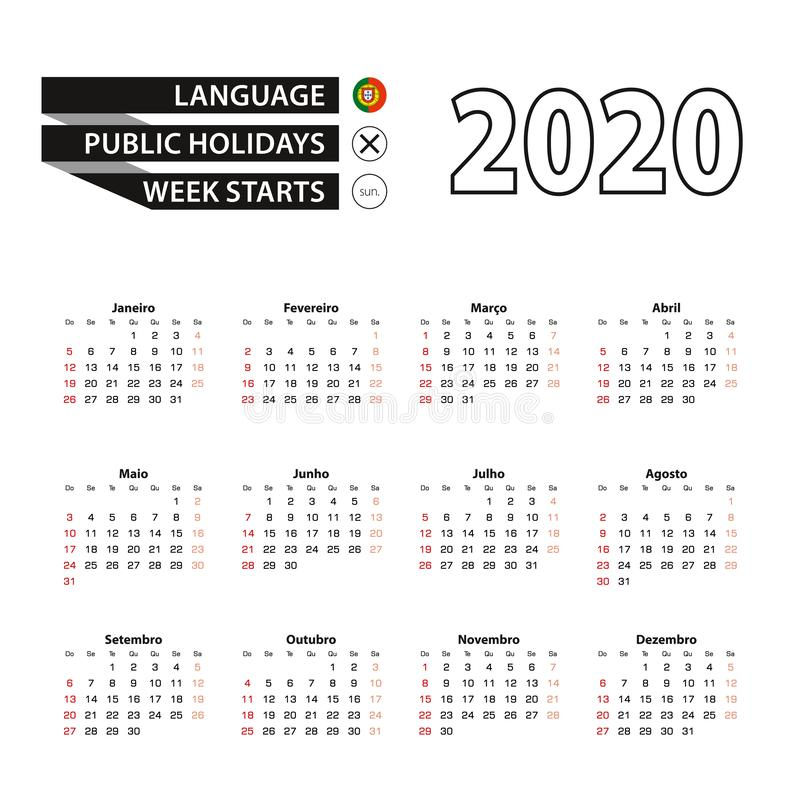 2020 calendar in Portuguese language, week starts from Sunday royalty free illustration