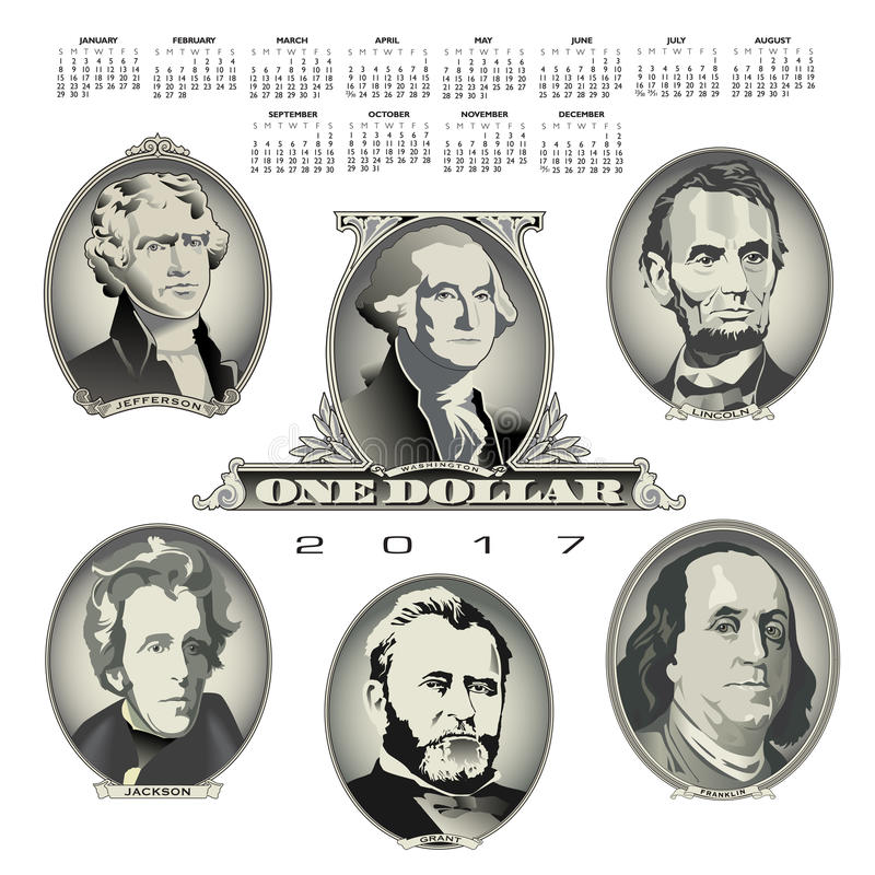 A 2017 calendar with Presidential oval bill elements vector illustration