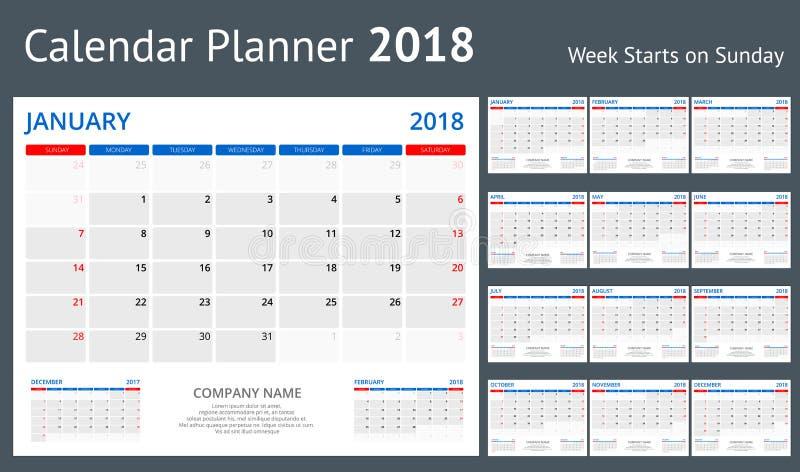 2018 Calendar Print Template Week Starts Sunday Portrait Orientation