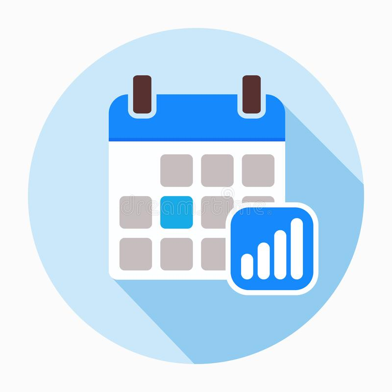 Calendar with progress bars icon vector. royalty free illustration
