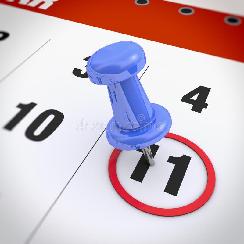 Calendar and pushpin royalty free stock image