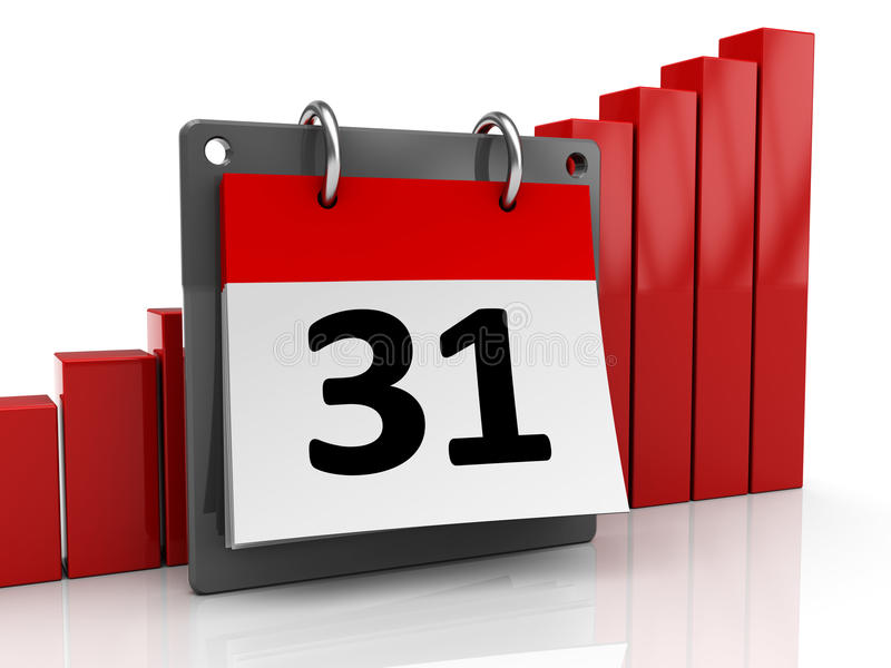 Calendar and raising charts. 3d illustration of calendar and raising charts over white background vector illustration