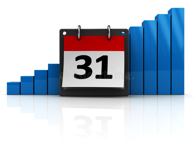 Calendar with raising charts. 3d illustration of calendar with raising charts over white background stock illustration