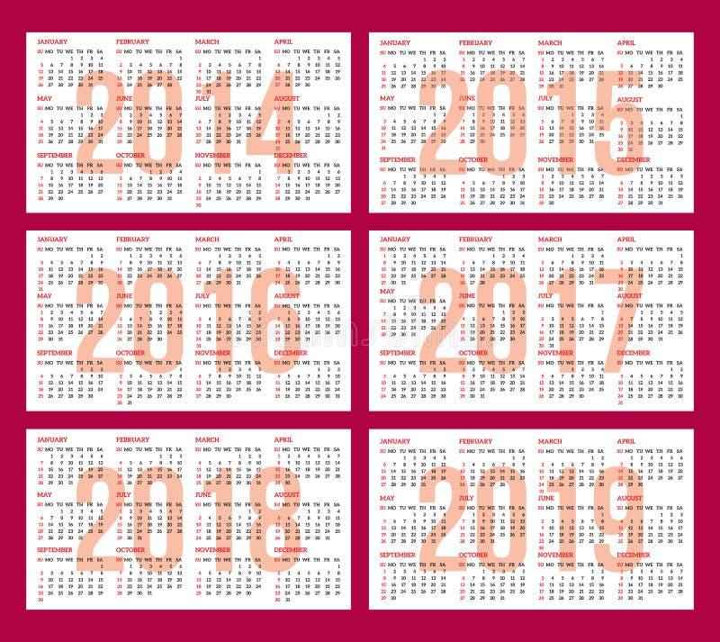 Calendar rastret för 2014, 2015, 2016, 2017, 2018, 2019 vektor illustrationer