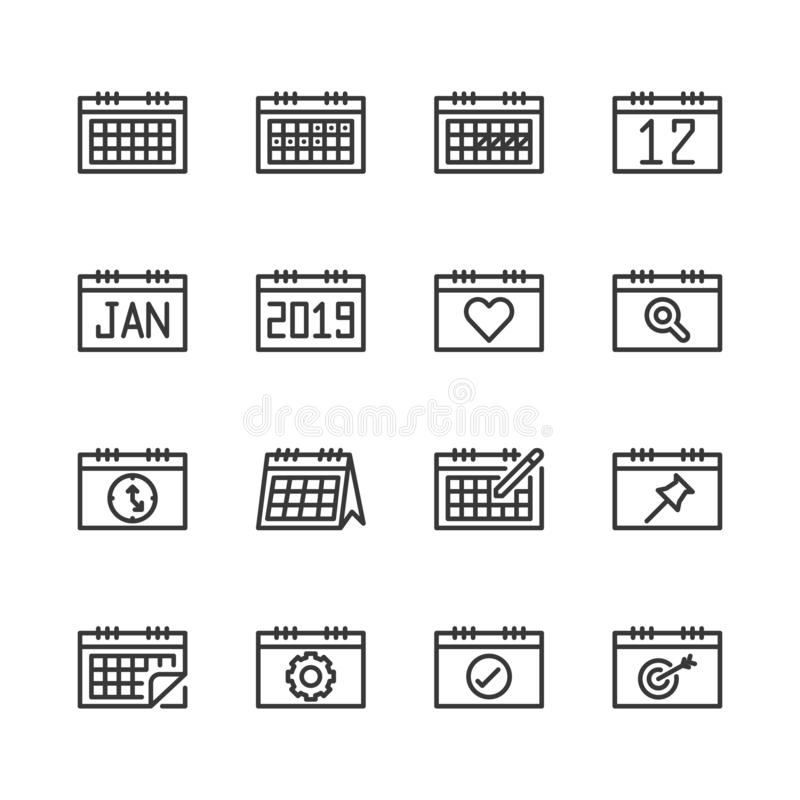 Calendar related icon set.Vector illustration stock illustration