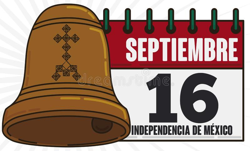 Calendar and Hidalgo`s Bell for Mexican Independence Day Celebration, Vector Illustration. Calendar with reminder date for Mexico`s Independence Day and Hidalgo` stock illustration