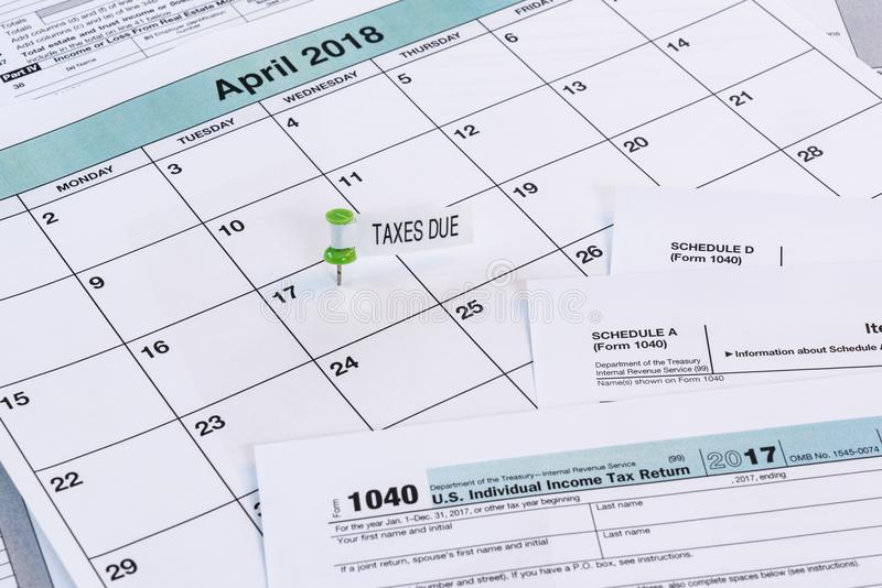 2017 Taxes Due Date. Calendar with reminder for taxes due on April 17th royalty free stock photos
