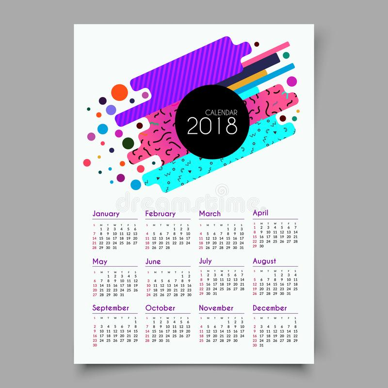Calendar 2018. Retro vintage 80s or 90s fashion style. Memphis cards. Trendy geometric elements. Trendy colors. Eps 10 royalty free illustration