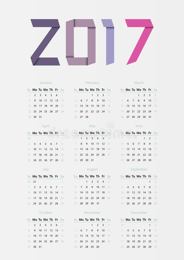 The 2017 calendar. Ribbons 2017 year calendar in bright colors royalty free illustration
