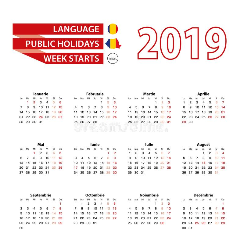 Calendar 2019 in Romanian language with public holidays the country of Romania in year 2019 vector illustration