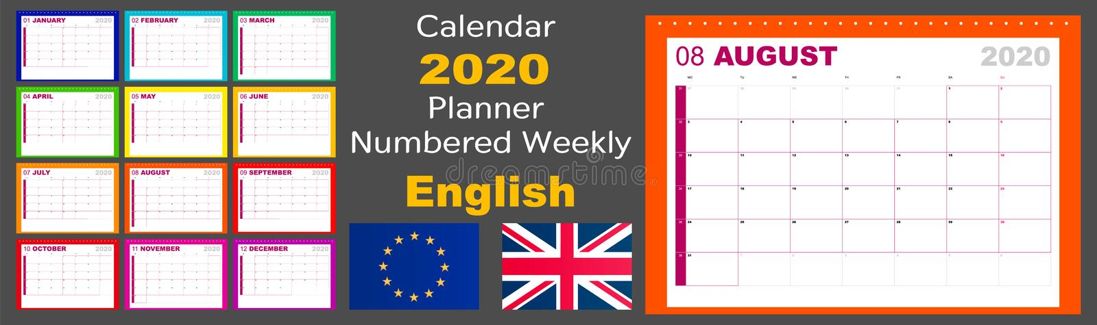Calendar 2020 scheduler is numbered weekly. The language is English, the standard is European. The week starts on Monday. Vector. Illustration stock illustration