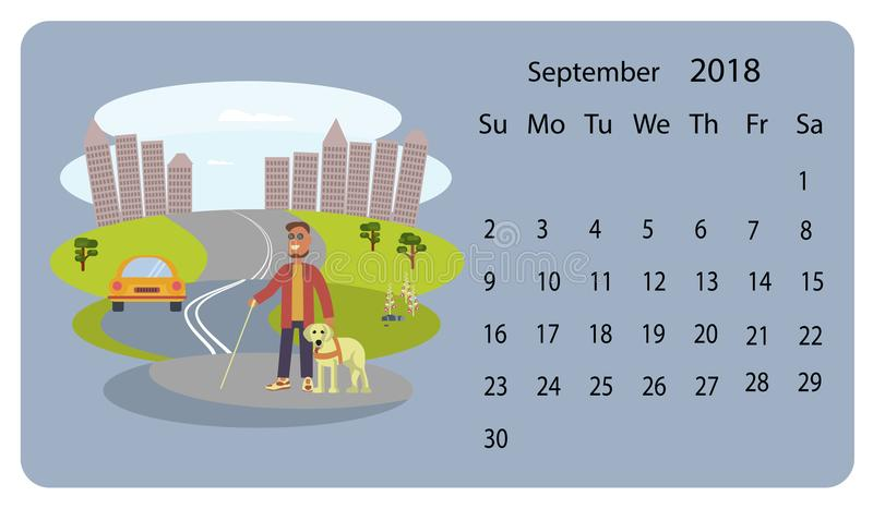 Cute Calendar Illustration : Calendar for september stock vector illustration of