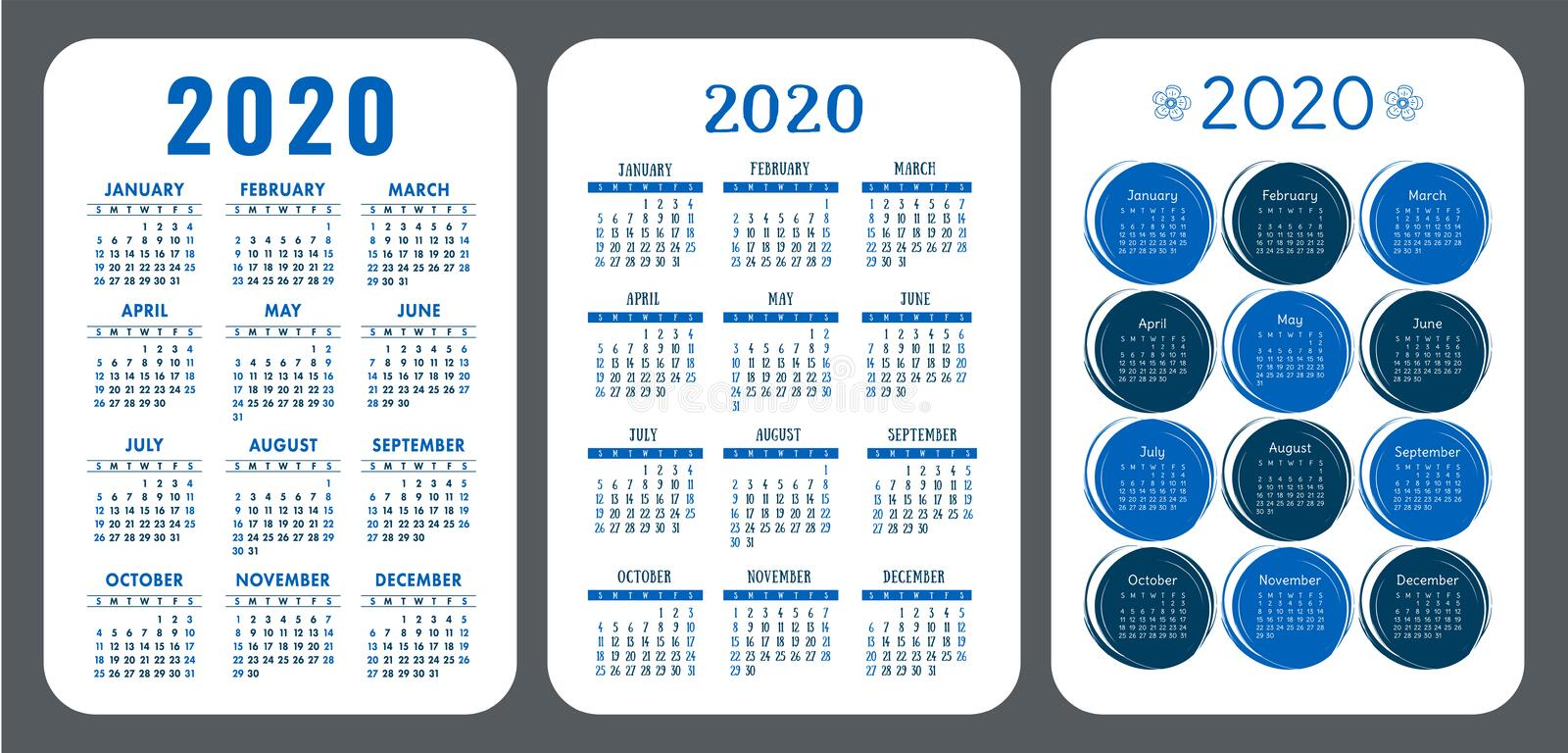 2020 calendar set. Vector design collection. Color English calender. Basic grid template for print. Week starts on Sunday.  royalty free illustration