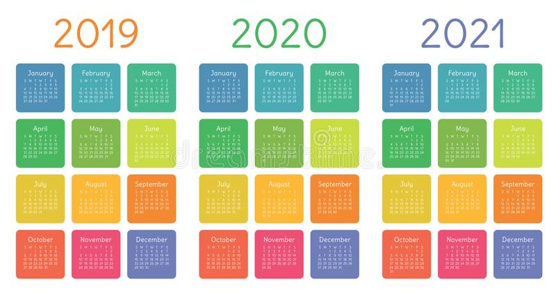 Calendar 2019, 2020 and 2021 set. Week starts on Sunday. Basic grid stock illustration