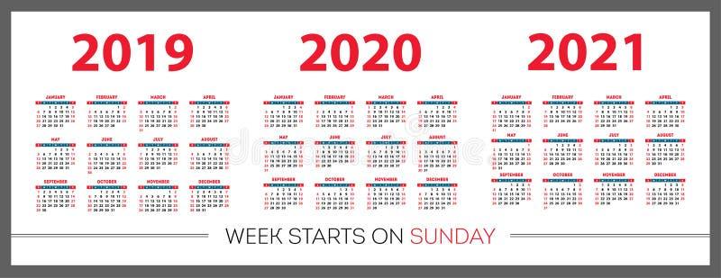 Calendar set 2019, 2020, 2021 years. Red color, pocket. Week starts on Sunday stock illustration