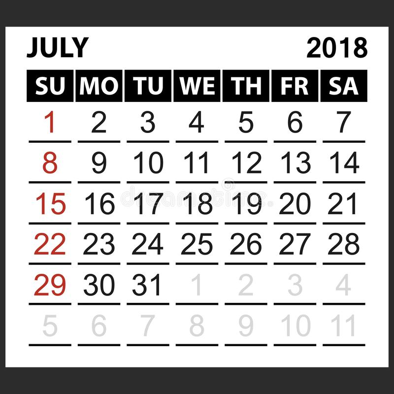 Calendar sheet July 2018 stock illustration