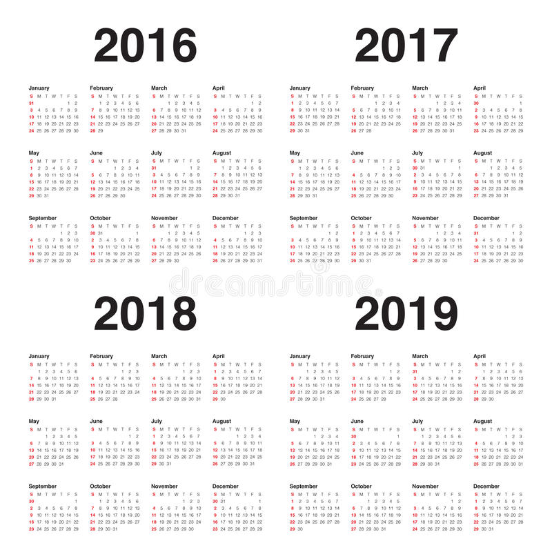 Download Calendar 2016 2017 2018 2019 Stock Photo - Image of 2018, simple: 61291588