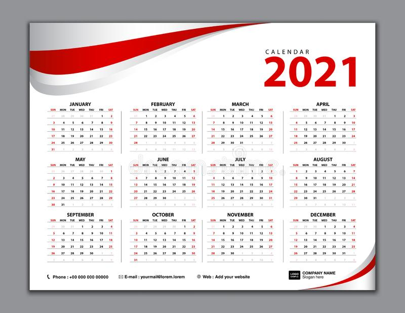 Calendar 2021, Simple calendar, desk, Week starts from Sunday. Set of 12 Months, vector template. Red abstract background stock illustration