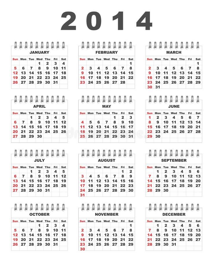 Download 2014 calendar stock vector. Image of planner, modern - 35784637