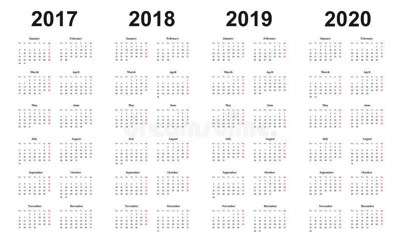 Calendar 2017, 2018, 2019, 2020, simple design, sundays marked red stock illustration