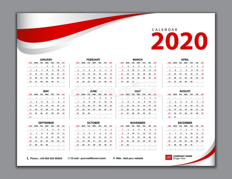 Calendar 2020, Simple calendar, desk, Week starts from Sunday. Set of 12 Months, vector template. Red abstract background vector illustration