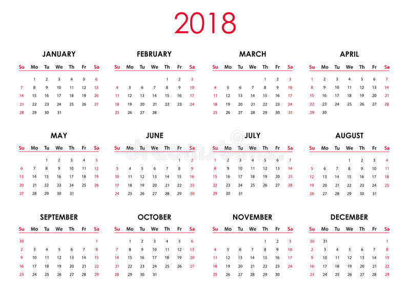 The 2018 calendar stock illustration