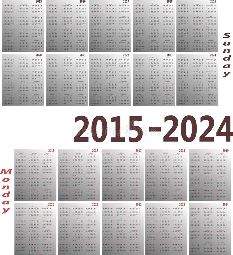 Calendar 2015-2024 royalty free illustration