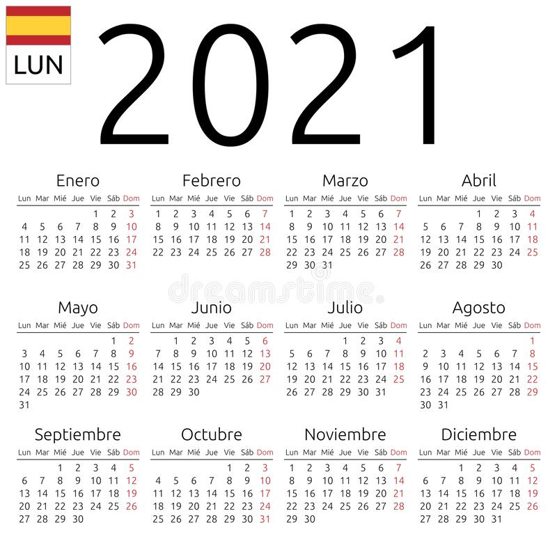 Calendar 2021, Spanish, Monday Stock Vector   Illustration of 2021