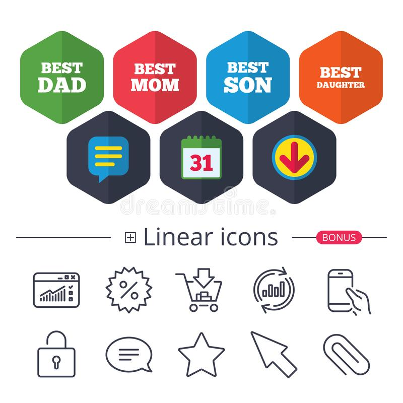 Best mom and dad, son, daughter icons. royalty free illustration