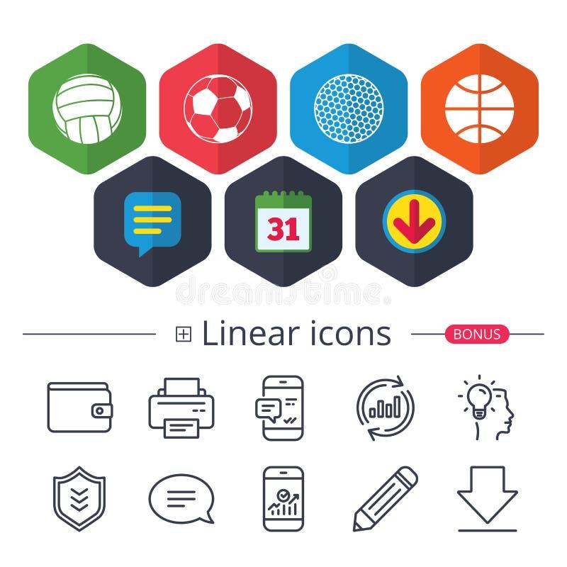 Sport balls. Volleyball, Basketball, Soccer. royalty free illustration