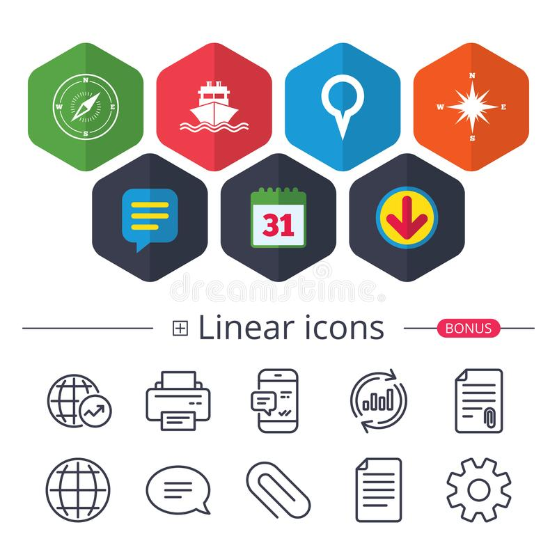 navigation, shipping delivery icons stock illustration