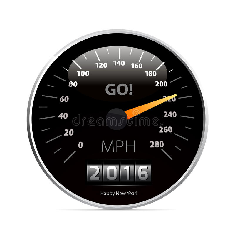Calendar 2016 in speedometer car. stock illustration