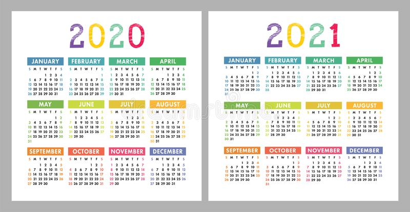 Calendar 2020, 2021. Square vector calender design template. English colorful set. Week starts on Sunday. New year royalty free illustration