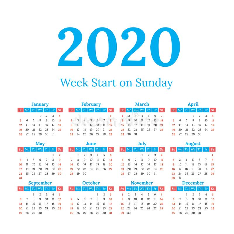 2020 calendar start on sunday stock photo