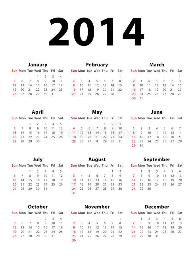 Calendar 2014. Calendar of 2014 starting on Sunday vector illustration