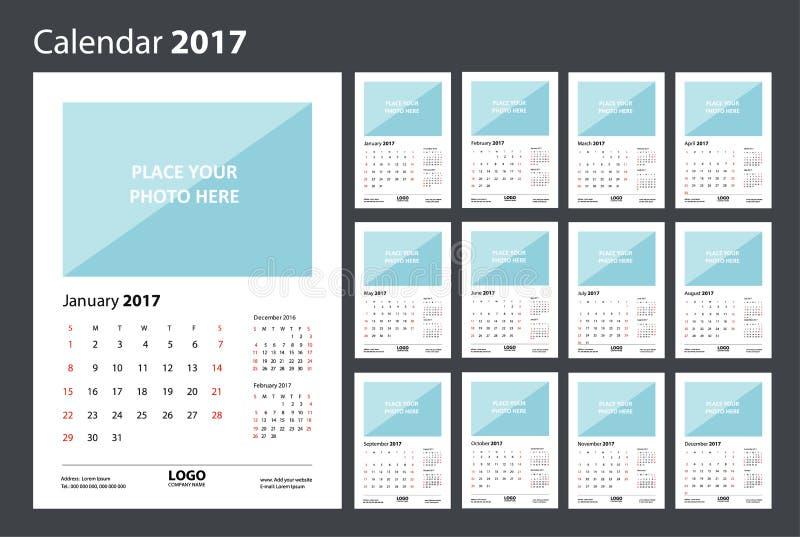 Calendar 2017 starting from Sunday. stock illustration
