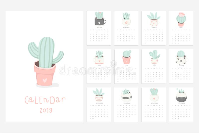 Calendar 2019. Fun And Cute Calendar With Hand Drawn ...