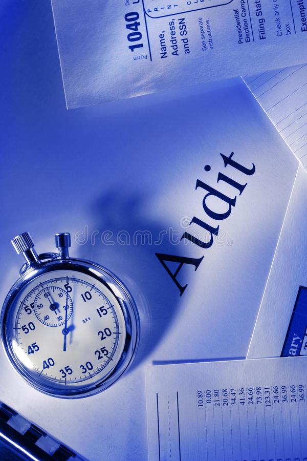 Calendar, stopwatch and audit stock images
