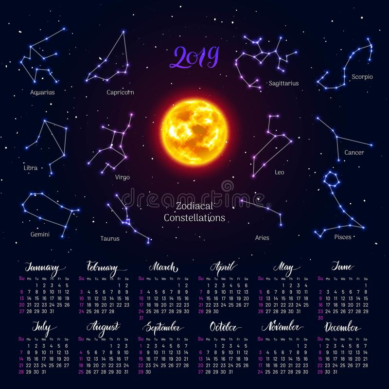 Calendar, sun, zodiac signs, 2019, night sky background, lettering stock illustration