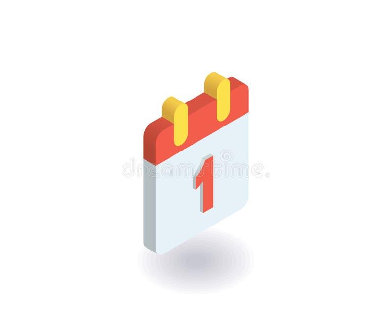 calendar symbolen Vektorillustration i plan isometrisk stil 3D royaltyfri illustrationer